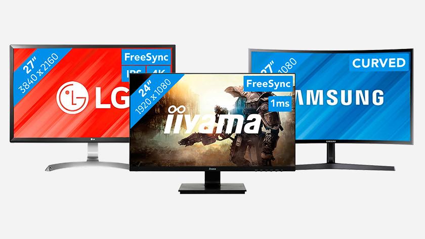 3 verschillende monitoren, een zakelijke monitor, een gaming monitor en een curved monitor.