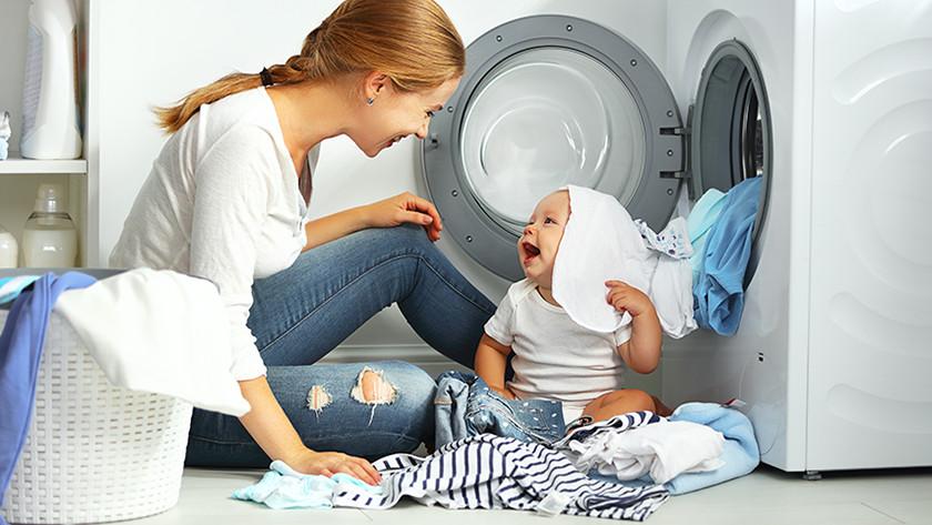 Wasmachine met baby