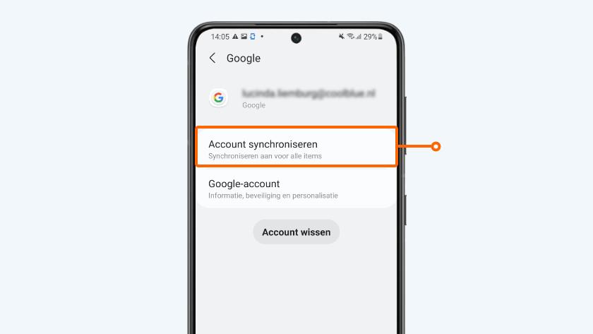 Tik op 'Account synchroniseren'