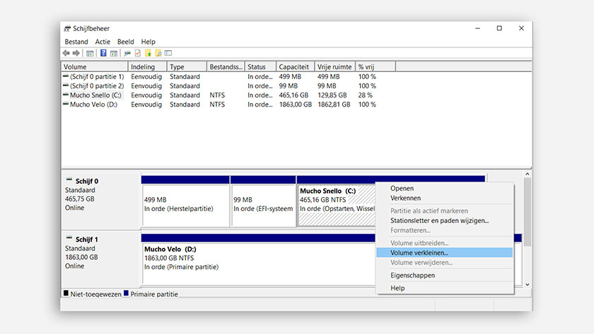 Shrink volume in Windows Disk Manager