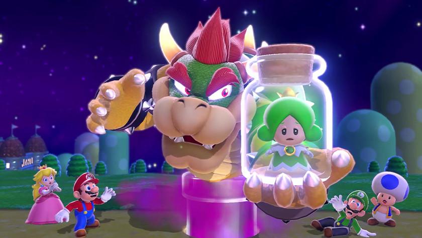Bowser ontvoert een groene Sprixie in Super Mario 3D World. Peach, Mario, Luigi en Toad schrikken hiervan.