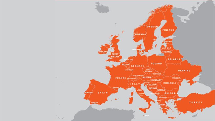 Kaartdekking Europa