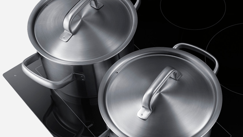Pans on a cooktop