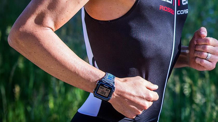 Triathlete with sports watch
