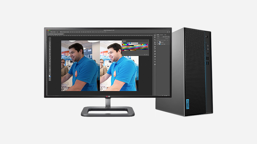 Editing photo of Coolblue employee using Photoshop on HP desktop.
