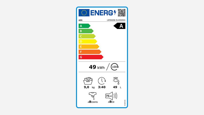 Energy label AEG 9000 series washing machine