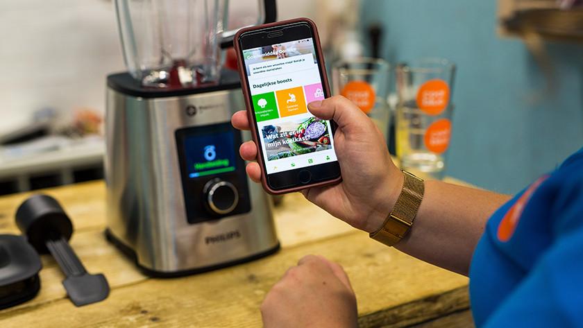 Smartphone met op scherm functies app