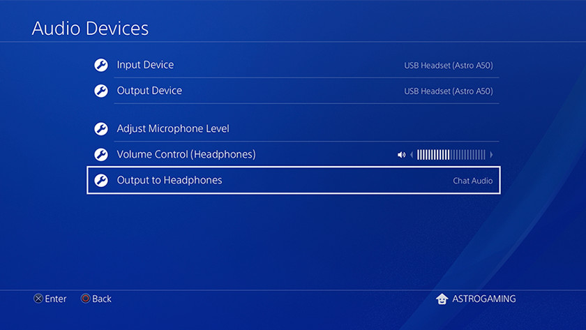 PS4 audio menu