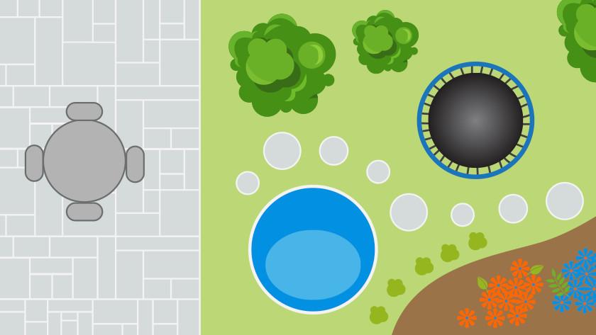 Plaatsing ronde trampoline