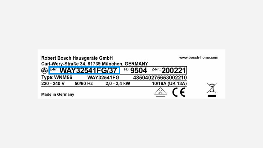 Type number Bosch