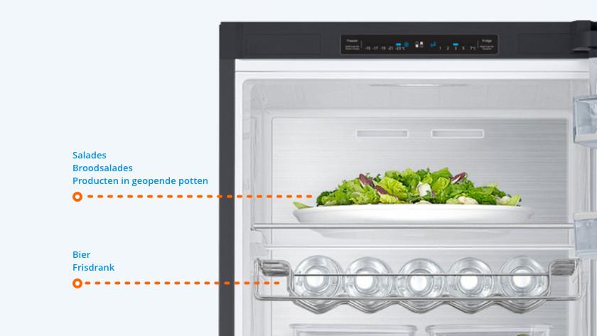 Boven in de koelkast