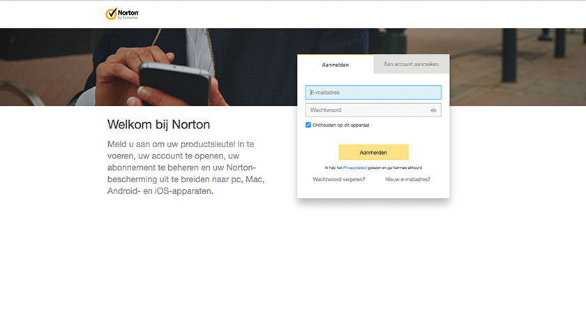 Log in with account with Norton Security.