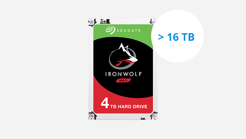 An HDD has up to 16TB of storage space.