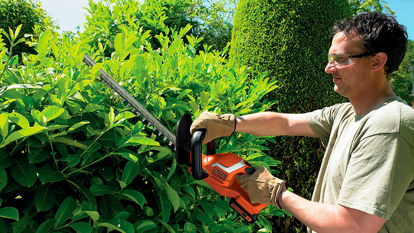 Hedge trimmer with battery