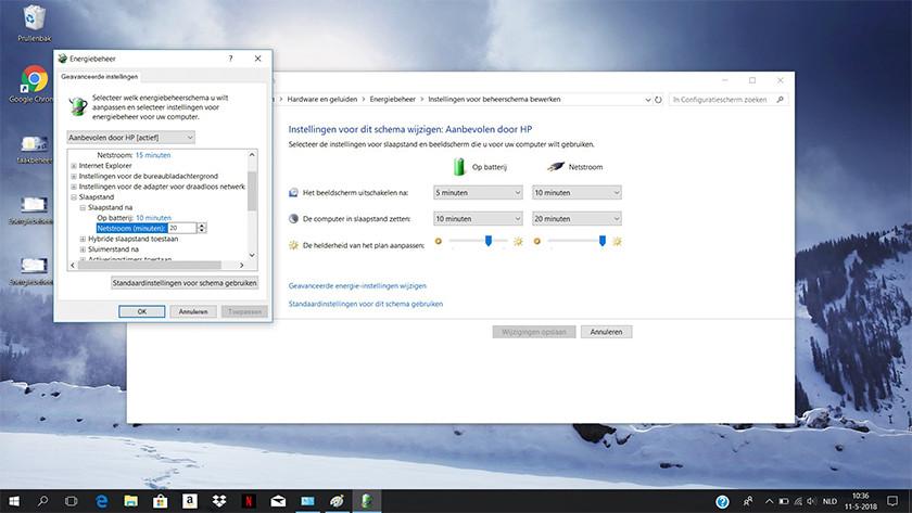 Schema instellingen wijzigen op een Windows 10 laptop.