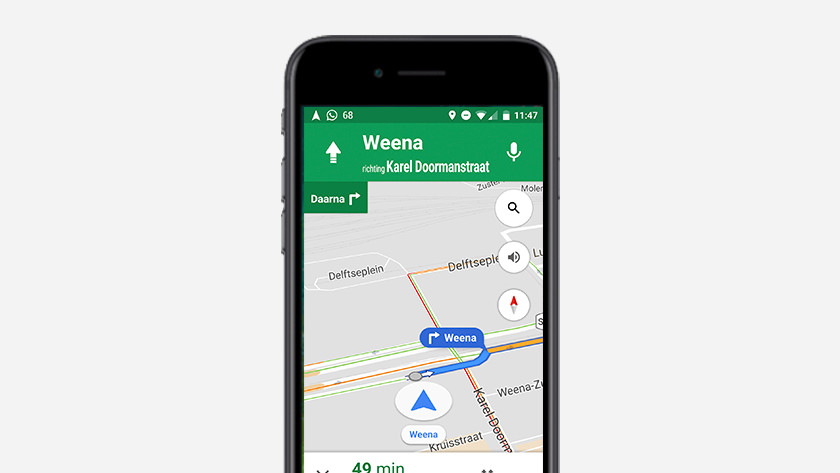 Smartphone met navigatie