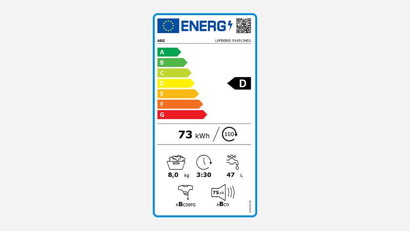 Energy label AEG 6000 series washing machine