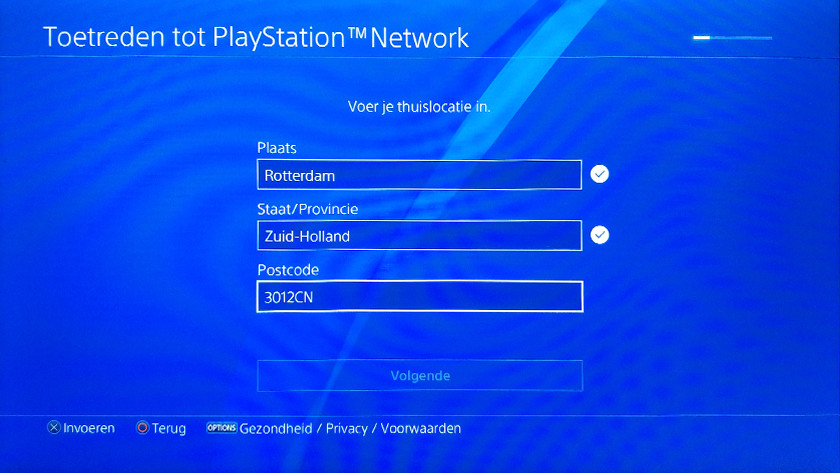 PSN account creation step 2