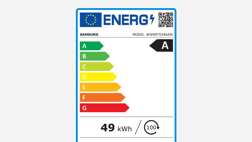 Energy label washing machine