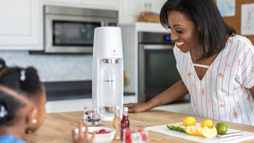 White SodaStream in use