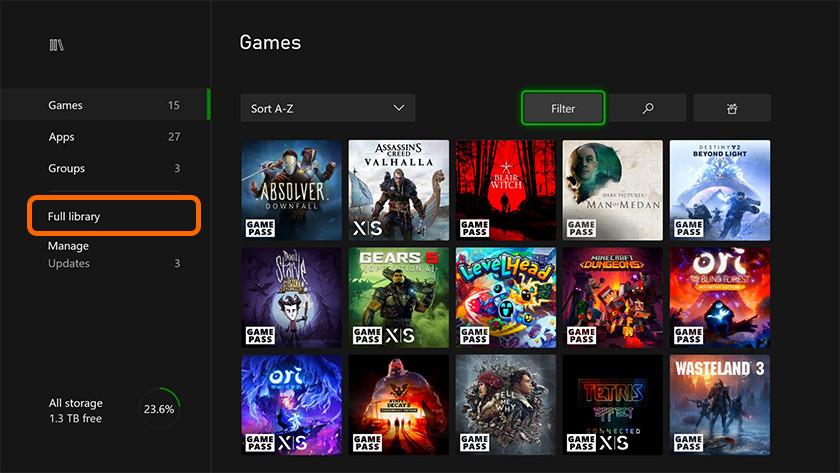 Volledige bibliotheek van games op de Xbox Series X voor het downloaden van digitale Xbox One games.