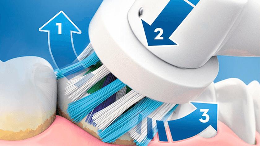 Tandplak verwijderen met een roterende tandenborstel