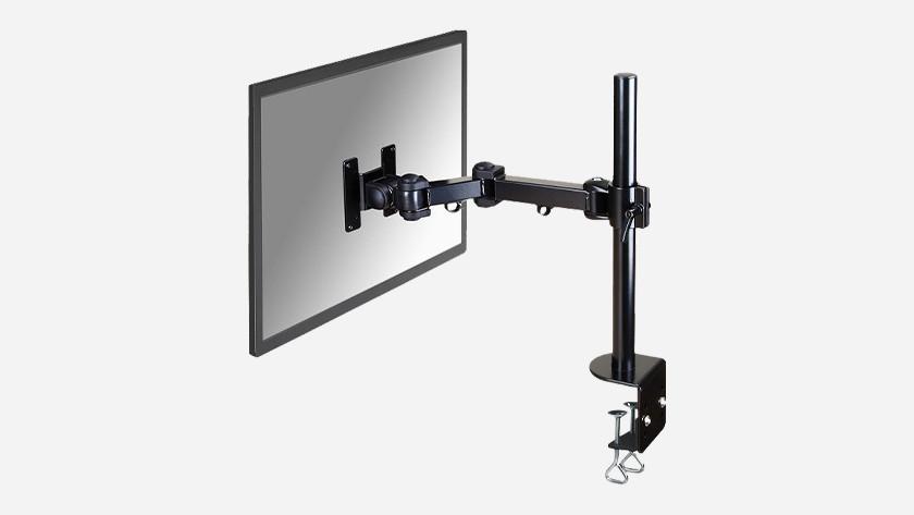 Monitor arm met bureau klem vastmaken