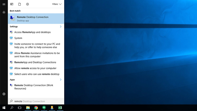 Remote Desktop applicatie in startmenu Windows.