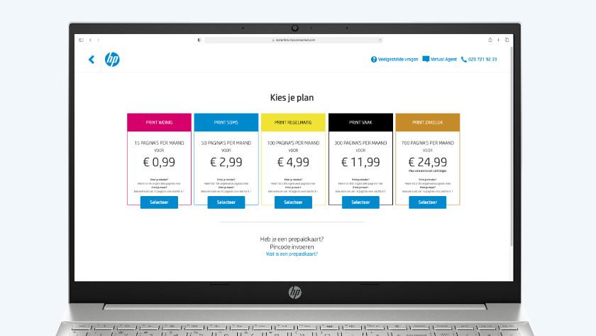 HP Instant Ink plan uitzoeken