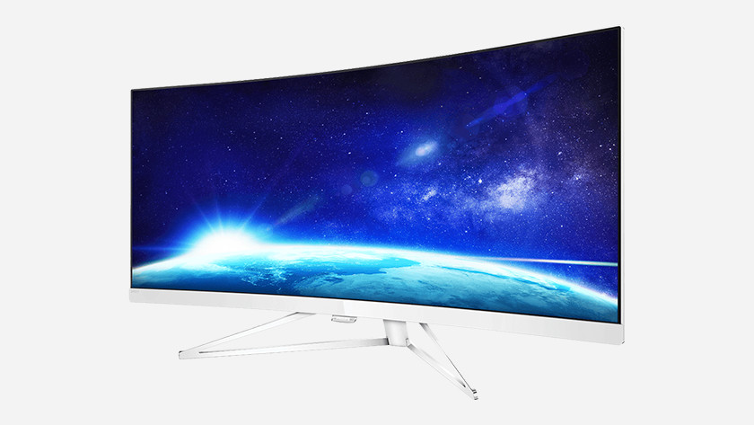 Curved screen display image 2 screens dual ultrawide monitor 16:9 size