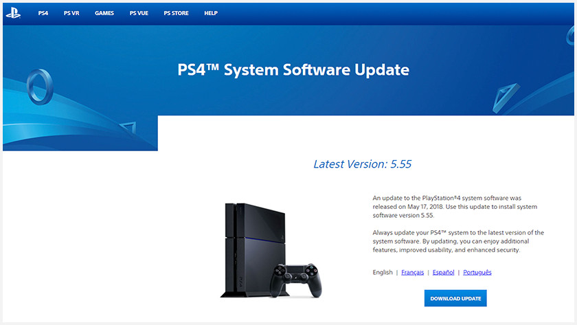PS4 firmware website