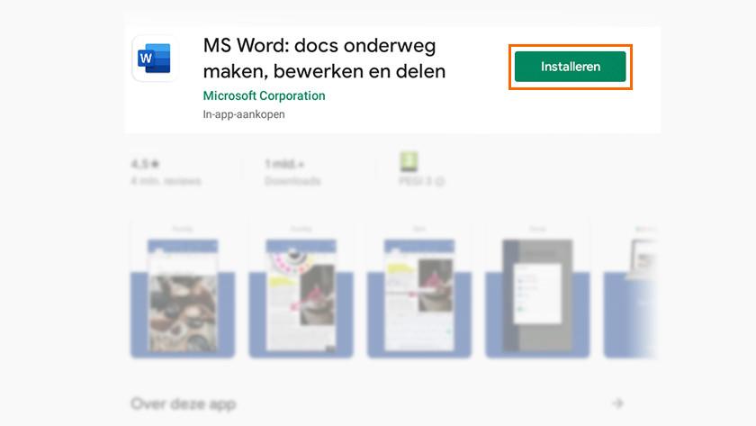 Applicatie Word installeren via Google Play Store.
