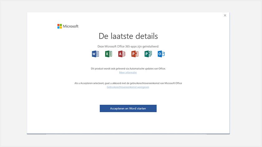 Microsoft Office activeren via apps