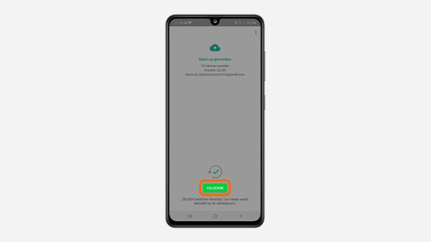 Doorgaan whatsapp backup