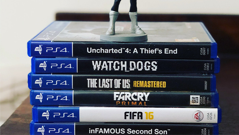 Stack of PS4 games.