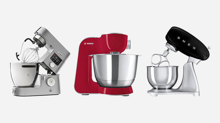 Kenwood, Bosch, and Smeg stand mixer side by side
