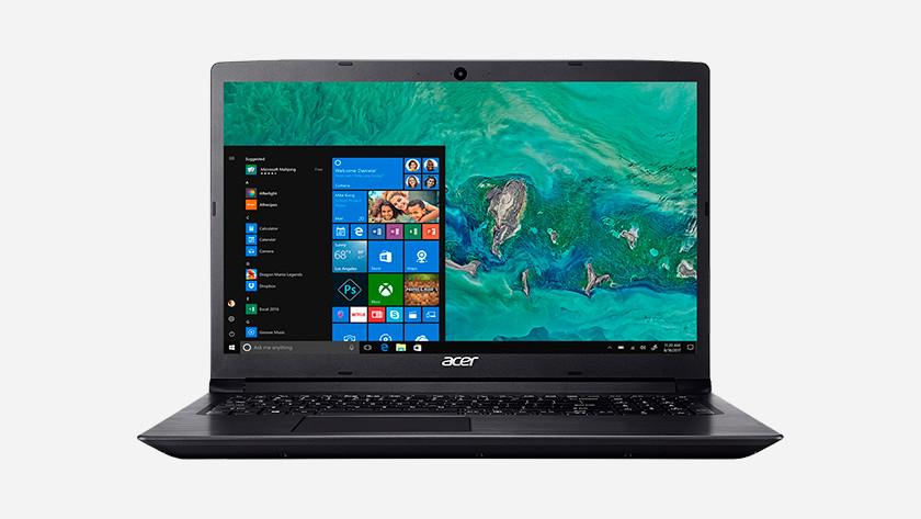 Display Acer laptop with Windows start menu.