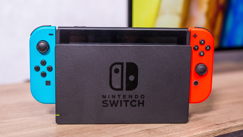 Nintendo Switch console in dock.