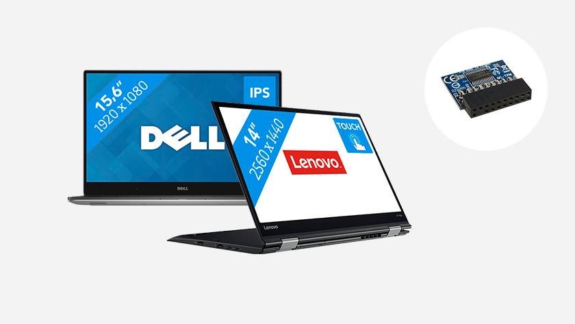 Dell en Lenovo laptop. TPM chip in hoek afbeelding.