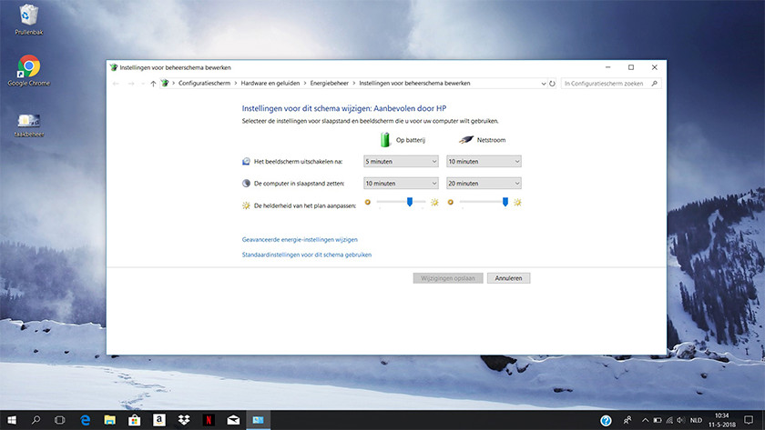 Power settings on a Windows 10 laptop.