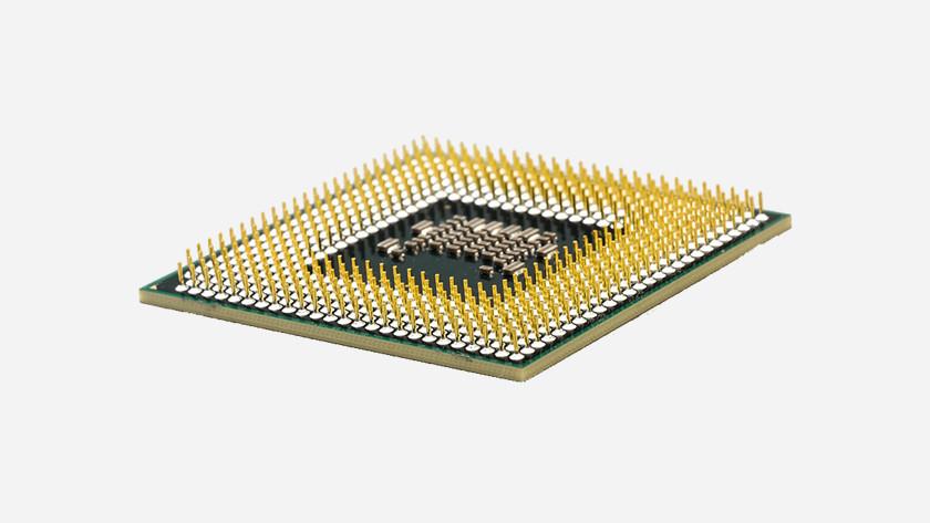Een close-up van een computer processor chip