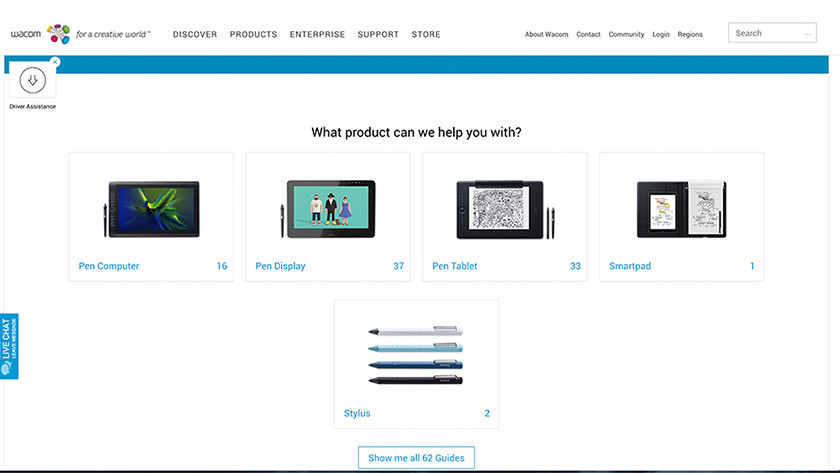 Wacom Support page