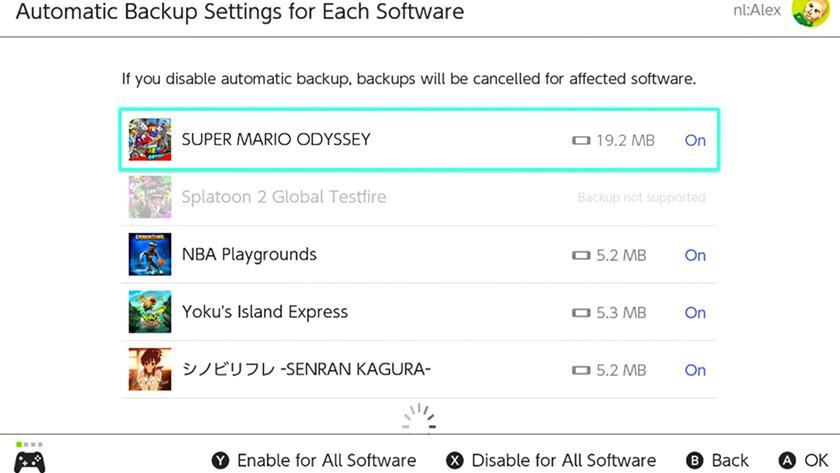 Kies welke games automatisch backups maken