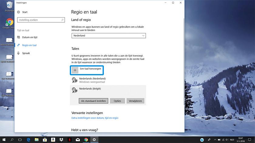 Region and language settings on Windows 10.