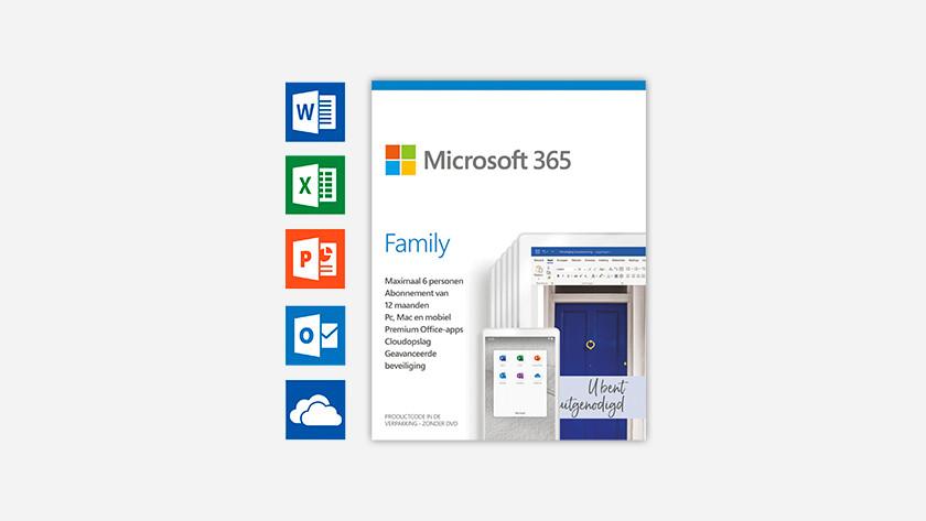 Een doos van Microsoft Office 365 Family.
