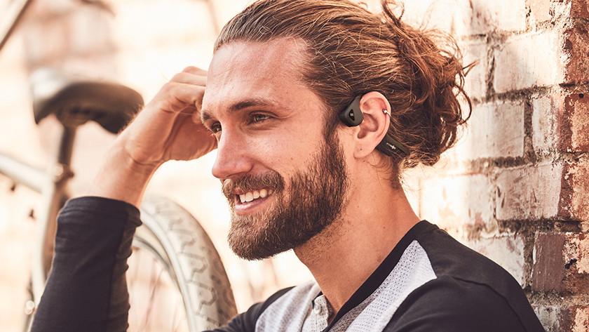 Earbuds near ears
