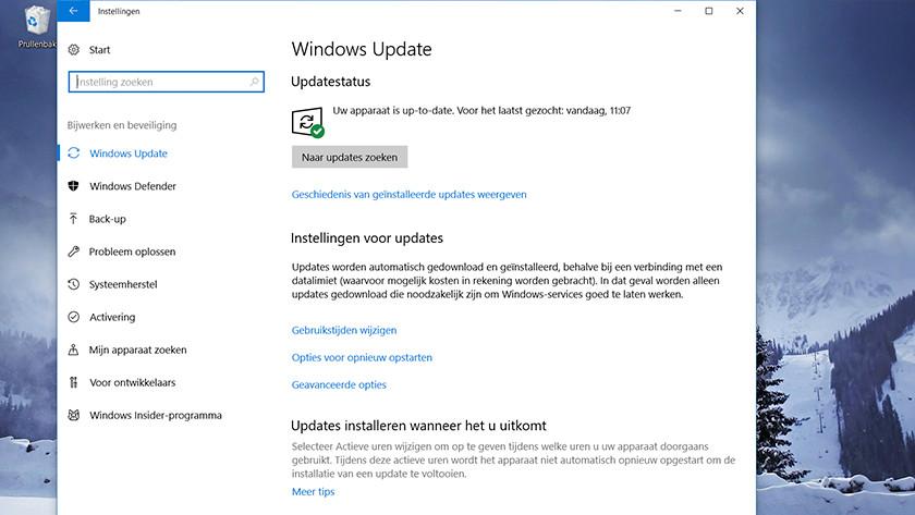 Windows Update menu Windows 10.