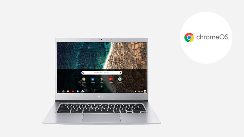 A Chromebook with Chrome OS logo.