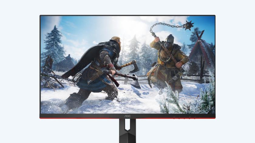 Assassin's Creed Valhalla op de 27 inch gaming monitor van AOC