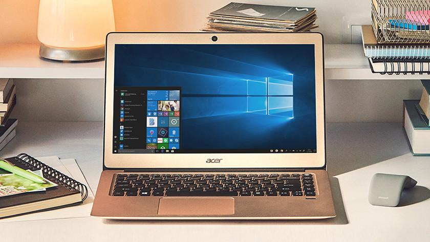 Windows 10 startmenu op Acer laptop.